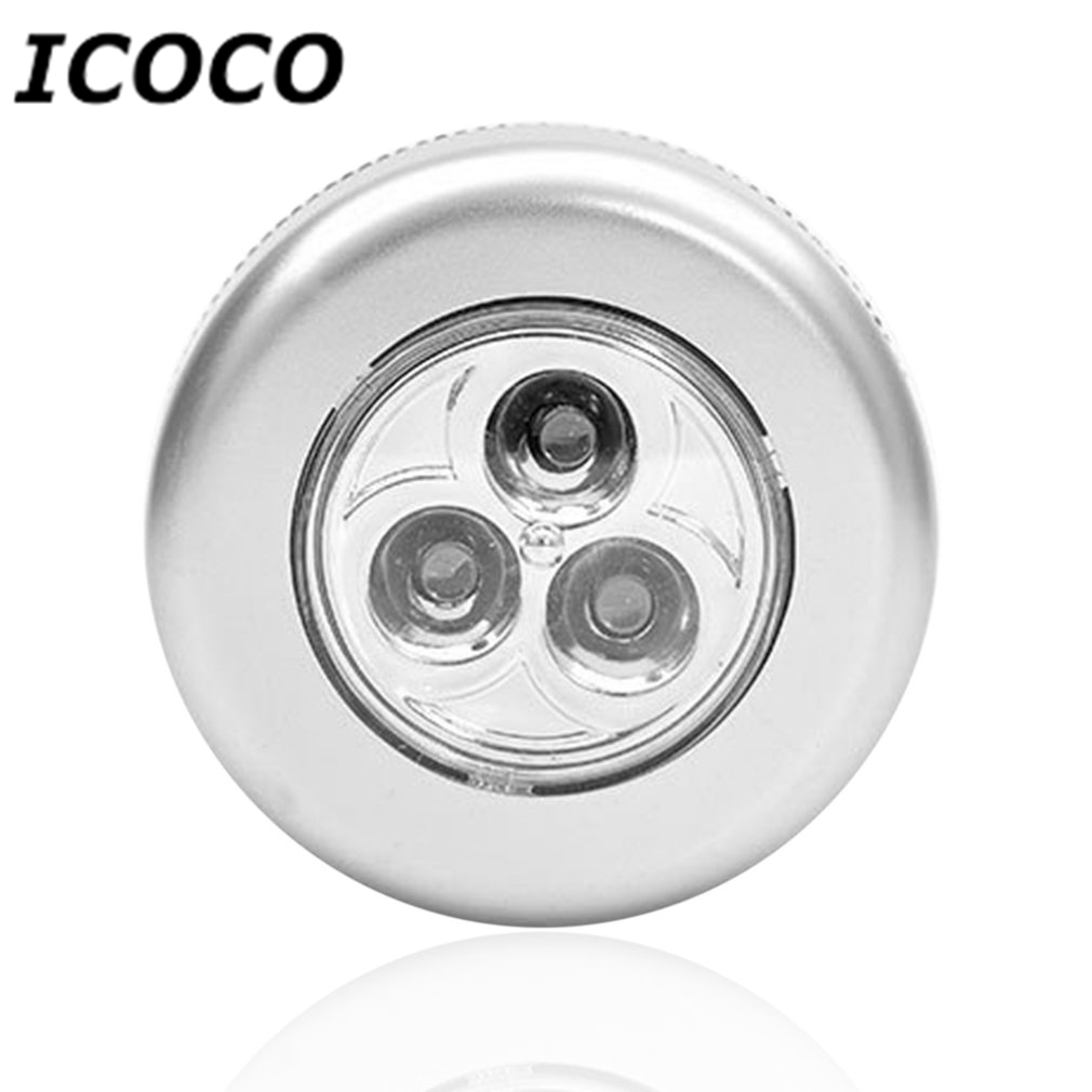 ICOCO Stick Pat Lamp 3 LEDs Touch Lamp Ceiling Wall/Cabinet Light Mini LED Night Light Battery-powered Bedside Emergency Lamp