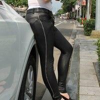 Nuevos Hombres Atractivos de Cuero de Imitación Mate Lápiz Pantalones Leggings Casual Slim Fit Zipper Tight Erótica Lencería Club Wear FX106