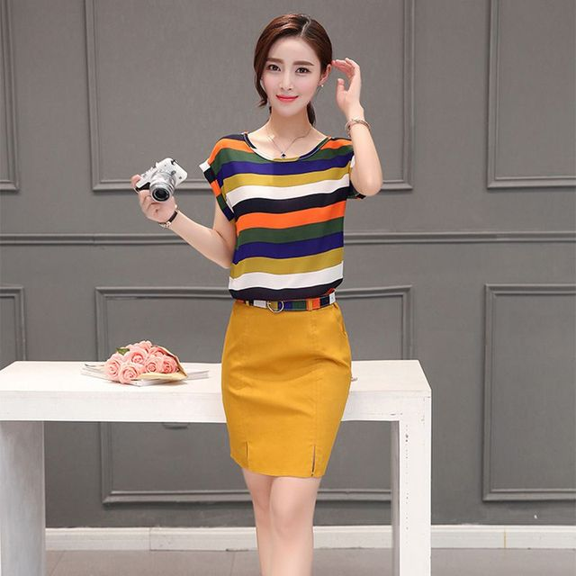 2016 summer new fashion short sleeve slim  round collar set head stripe two pieces set suit female