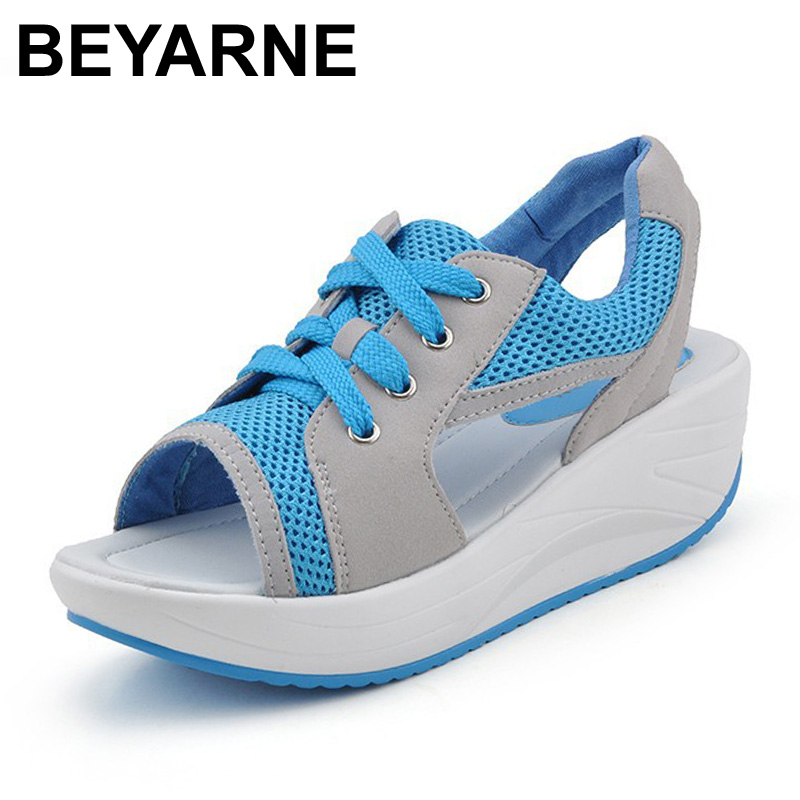 New 2016 Summer Shoes Woman Blue Tennis Open Toe Slimming Sandalias Ladies Trendy Health Wedges Platform Sandals For Women