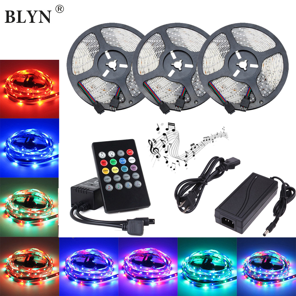 Music LED Strip Waterproof SMD Diode Tape Flexible RGB Rope Light 10M 15M 5M LED Music Controller IR Remote 12V Power SupplyMusic LED Strip Waterproof SMD Diode Tape Flexible RGB Rope Light 10M 15M 5M LED Music Controller IR Remote 12V Power Supply