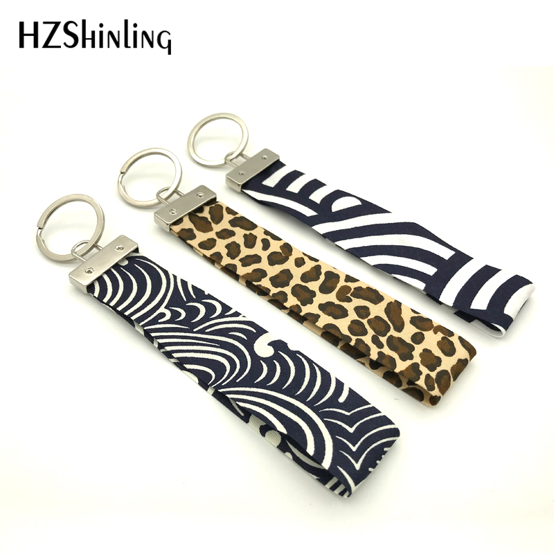 Ribbon 2018 New Black Damask Fabric Key Fob Leopard Wristlet Key Ring Trendy Keychain Keyholder Gifts Men Women
