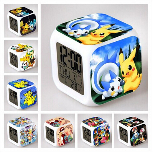 Xmas Novelty Pokemon Action Figure 7 Color changing Flash Touch Lights Minion Anna Elsa Olaf LED Alarm Clock Children Gift