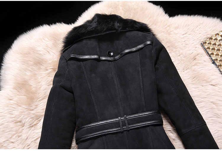 0cea3448f07 ... Women genuine wool Fur coat black real Sheep leather long slim belt  winter jacket big fox