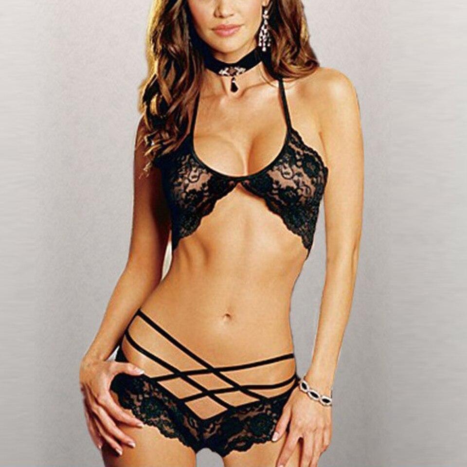 2018 Ladies Hot Sexy Lingerie Halter Sleepwear Lace Sexy Costumes Women Sexy Underwear Temptation Erotic Lingerie Porno Costumes