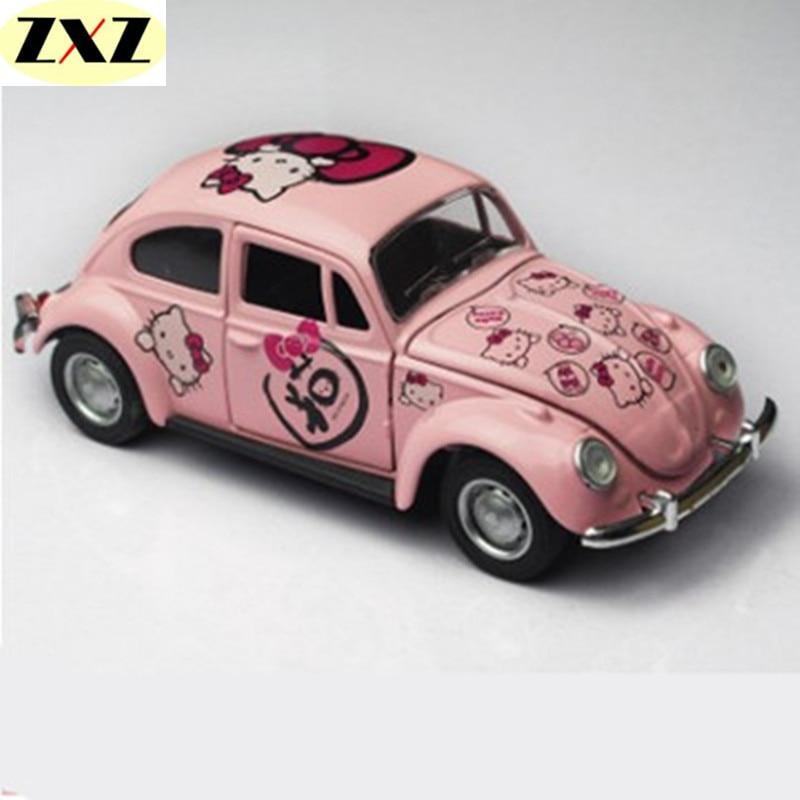 nieuwe collectie roze hello kitty auto mini toys auto kever kinderen speelgoed cars model kids gift