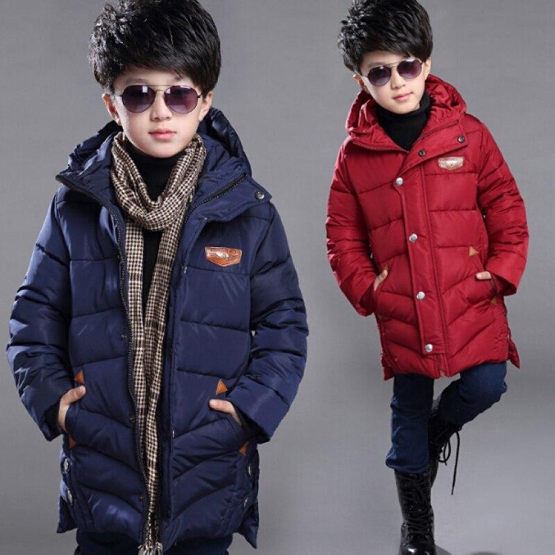 ФОТО 2016 Winter Children's Jackets Teenage Winter Coats Parkas Boys Parka Hooded Cotton Long Children Costume Jacket Kids Clothes