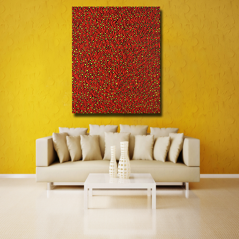 Yayoi Kusama Red tadpole Abstract picture of Wall Painting Home ...