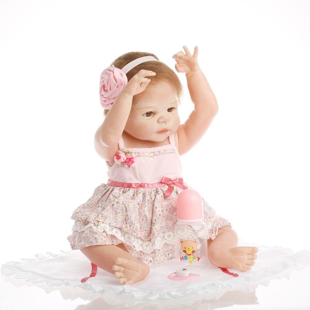 SanyDoll Hot New Reborn Silicone Baby Doll sourire bébé enfants de jouets Aimant Sucette 22 ''/55 cm