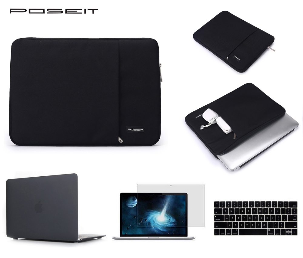 For Apple macbook Pro Air Retina Screen protector + keyboard cover +Hard case +sleeve bag 11 12 13 15 inch laptop case купить в Москве 2019