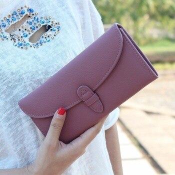 a1338a4822d8 Модный женский двойной кошелек клатч кредитница, кошелек Длинная Сумочка  твердый женский клатч для монет Кошельки Billetera Portemonnee