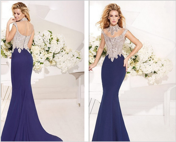 Best Design Elegant Fashion Sex Lace Applique Evening Dress Wedding Bridal Cocktail Party