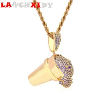 LANCHXIDY Hip Hop Men Pendant with Zircon Ice Cream Spilling Male Necklaces Pendants Fashion Personality Women Jewelry  Gift
