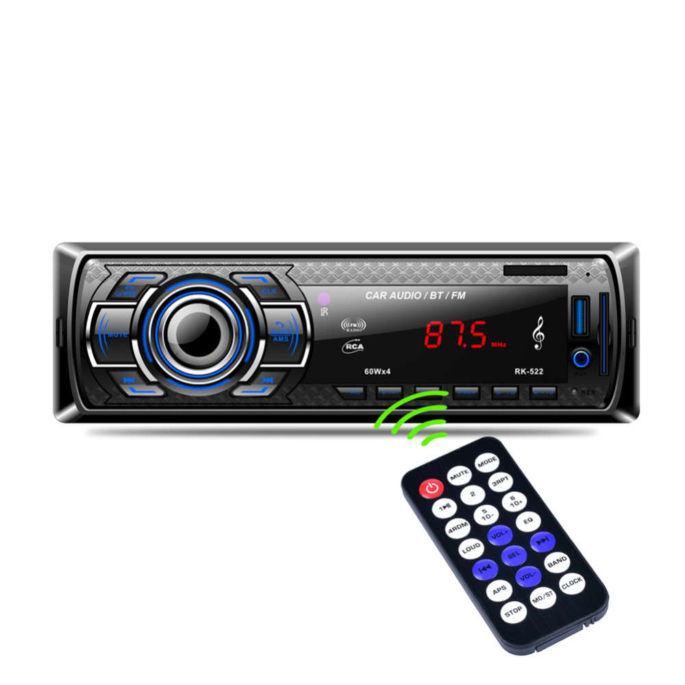 1Din en el tablero del coche Radio Bluetooth reproductor manos libres estéreo AUX-IN USB/tarjeta SD MP3 Player 12 V coche de Audio Radio Fm-estilo