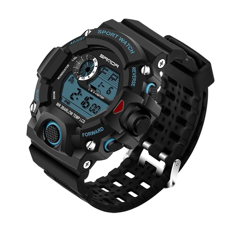 SANDA Men Sports Watches Military Watch Fashion LED Army Shock Digital watches Waterproof 30m Outdoor Fun