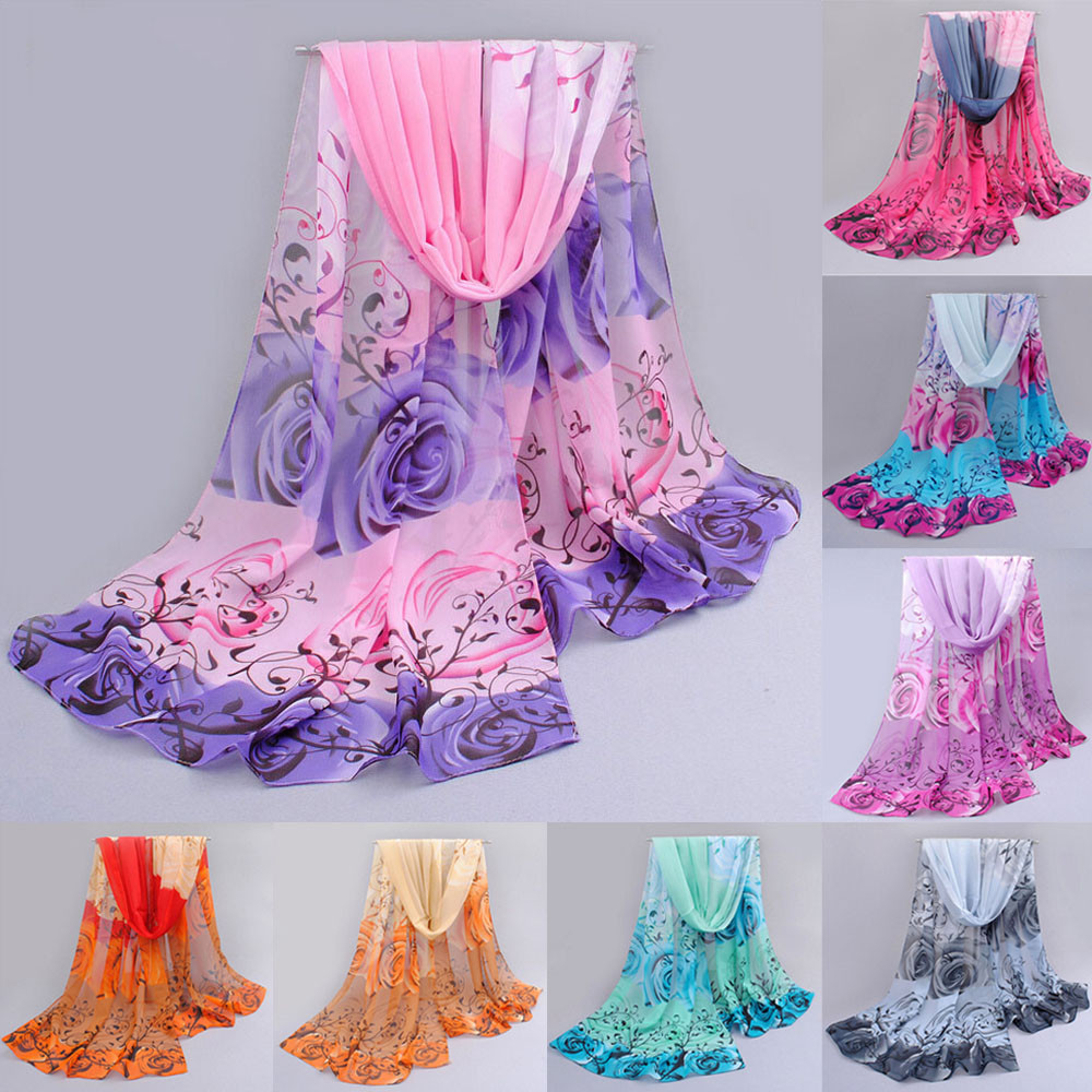 2019 Women Large Long Spring Autumn Chiffon   Scarves   Rose Pattern Gradient Color   Scarf     Wrap   Shawl Soft Stole   Wrap     Scarves   Bufanda