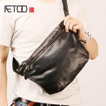 AETOO Male leather oblique bag, fashion trend chest vintage locomotive cowhide Casual Bag