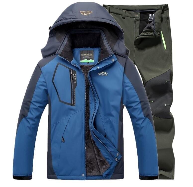 Зимняя уличная походная Лыжная водонепроницаемая куртка для катания на лыжах и рыбалки, штаны, комплекты из 2 предметов, Мужская термальная