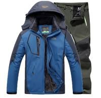Winter Outdoor Camping Trekking Hiking Skiing Fishing Waterproof Jacket Pants 2pcs sets Men Thermal Jacket Soft shell Trousers