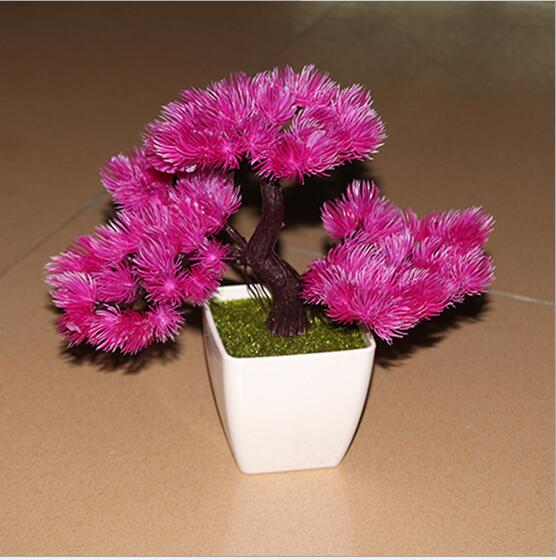 Potted Christmas Trees For Sale: Hot Sale Platic Artificial Plant Potted Bonsai Fake Flower
