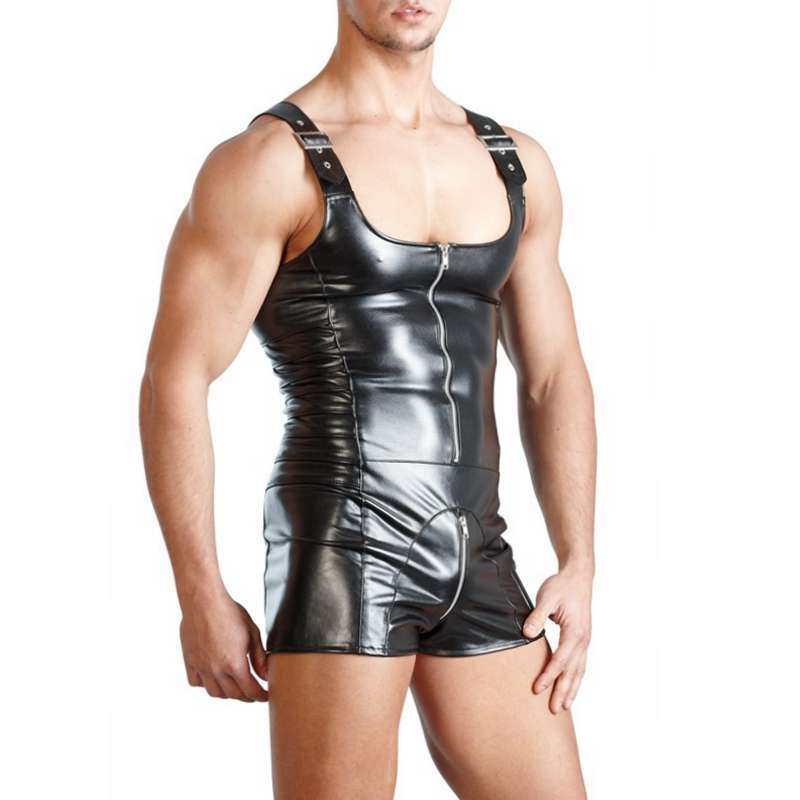 CFYH New PU Leather Men Sexy Bodysuit Faux Latex Male Erotic Jumpsuit Club Stage Costume Gays <font><b>Sex</b></font> <font><b>Lingerie</b></font> <font><b>Adult</b></font> Products image