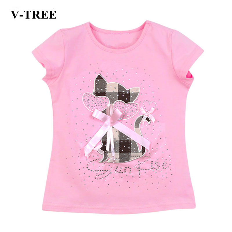 V-TREE Summer fashion baby girls t shirts girl top stereo pattern girls tees cotton t shirt girl clothing kids clothes