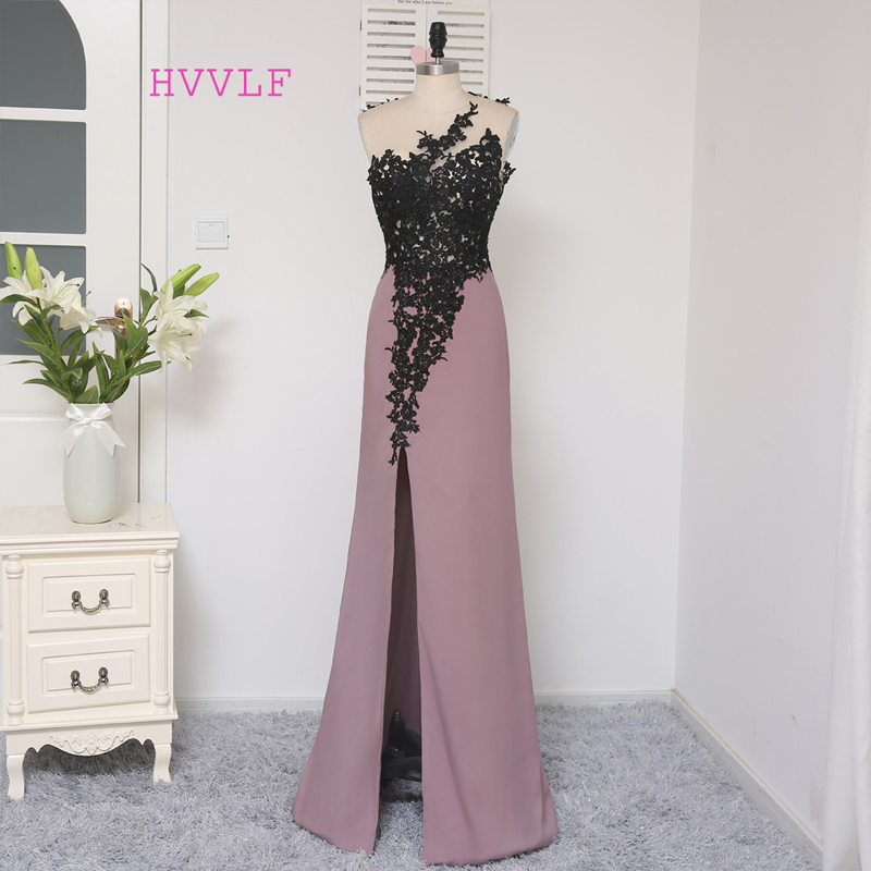HVVLF Black 2019   Prom     Dresses   Mermaid Floor Length Open Back Applique Lace Slit Sexy   Prom   Gown Evening   Dresses   Evening Gown