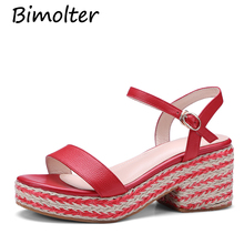 Bimolter cow leather women sandals high heels wedges buckle straps thick bottom classic simple straw style summer shoes NC033