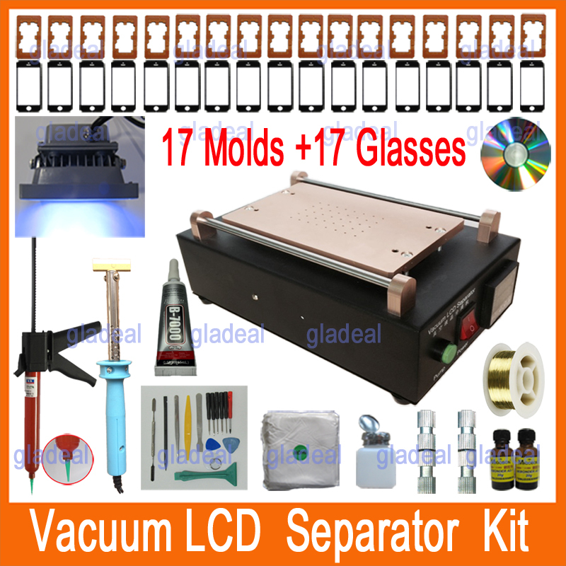 2016 New Built-in  Pump Vacuum  LCD Separator Machine Tool Set Kit to Repair Glass Touch Screen Digitizer for iPhone 4 5 6 Phone lcd tester replacement pcb board for iphone 5 5c 5s 6 plus touch screen display digitizer repair separator machine