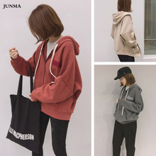 Casual Womens Hooded Sweatshirt Autumn Winter Brushed Front Pocket Thicken Plus Velvet Loose Zipper Drawstring Hoodie
