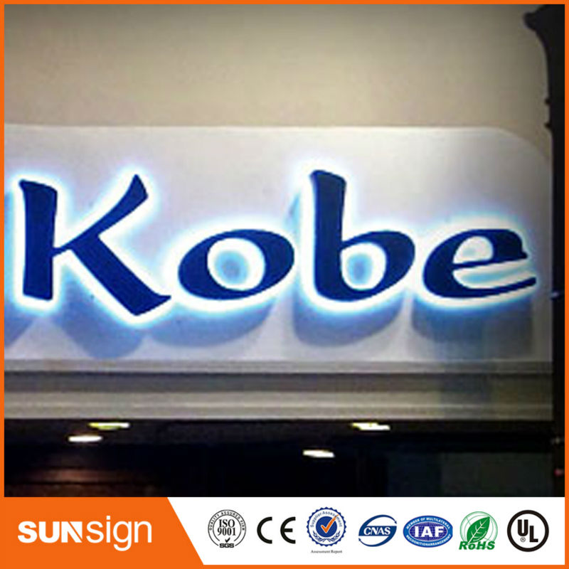 Taobao Gold Supplier Flat Stainless Steel Led Backlit Channel Letters