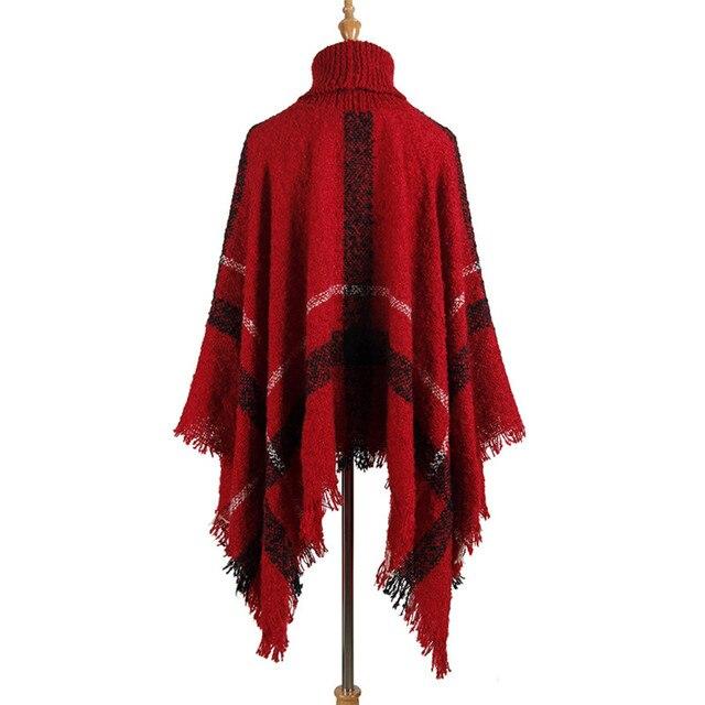 Hiawatha 2018 Long Turtleneck Cloak Knit Women Loose Plus Size Pullover Fashion Tassel Sweater M110 10