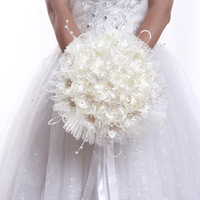 New 2018 Fashion Artificial Pearl Cloth Flower White Rose Bouquet Wedding Decorative Bouquet Engagement Supplies