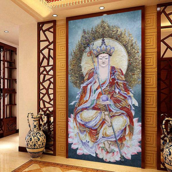 3D Embossment Buddha wallpaper Custom photo wallpaper Bedroom ...