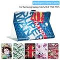 Moda pintado pu del tirón de cuero para samsung galaxy tab s2 t710 t715 8.0 pulgadas tablet smart cover case + regalo