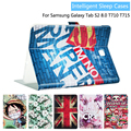 Moda pintado virar pu de couro para samsung galaxy tab s2 t710 t715 8.0 polegadas tablet caso smart cover + presente