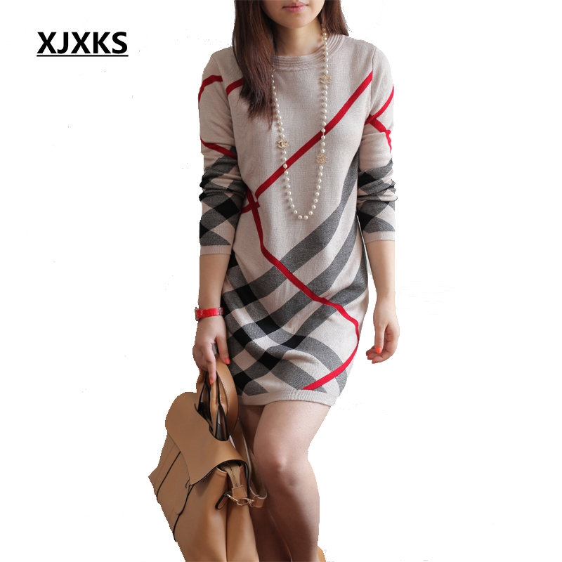 XJXKS Women Autumn and Winter dress new 2017 women's wool knitted large size long-sleeve stripe warm wool sweater dress