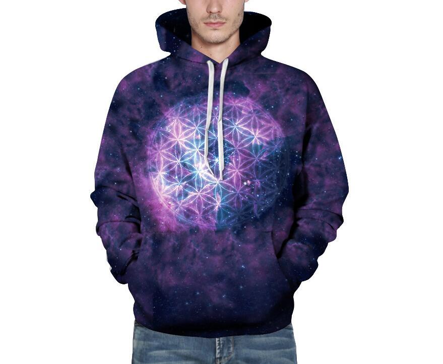 S-3XL Hoodies Men/Women 3d Sweatshirts Print purple Space Galaxy Hooded Hoody Tops Autumn Winter Loose Hoodies with pockets