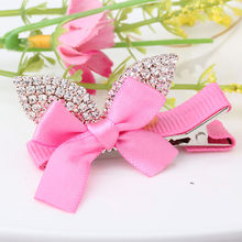 C MISM Lovely Ear Princess Bow Shaped Shiny Crystal Bow-knot Hairpins Rhinestone Barrette Ribbon Bow Hair Clip Hair Accessories(China)