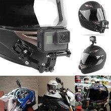 Go pro Accessories 4 Ways Turntable Button Mount Pro Hero 7 6 5 SJCAM SJ4000 EKEN H9 H9R Motorcycle Helmet Chin Bracket arm
