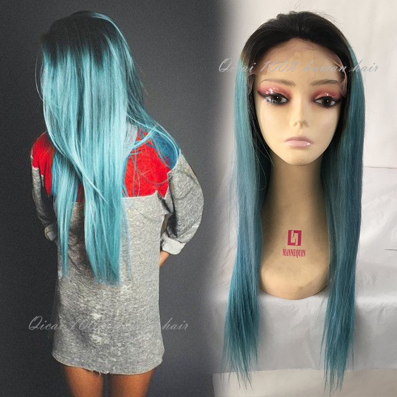 Ombre Blue Green Human Hair Wigs Malaysia Glueless Omber Lace Front Human Hair Ombre Teal Baby Hair Full Lace Short Bob Wig