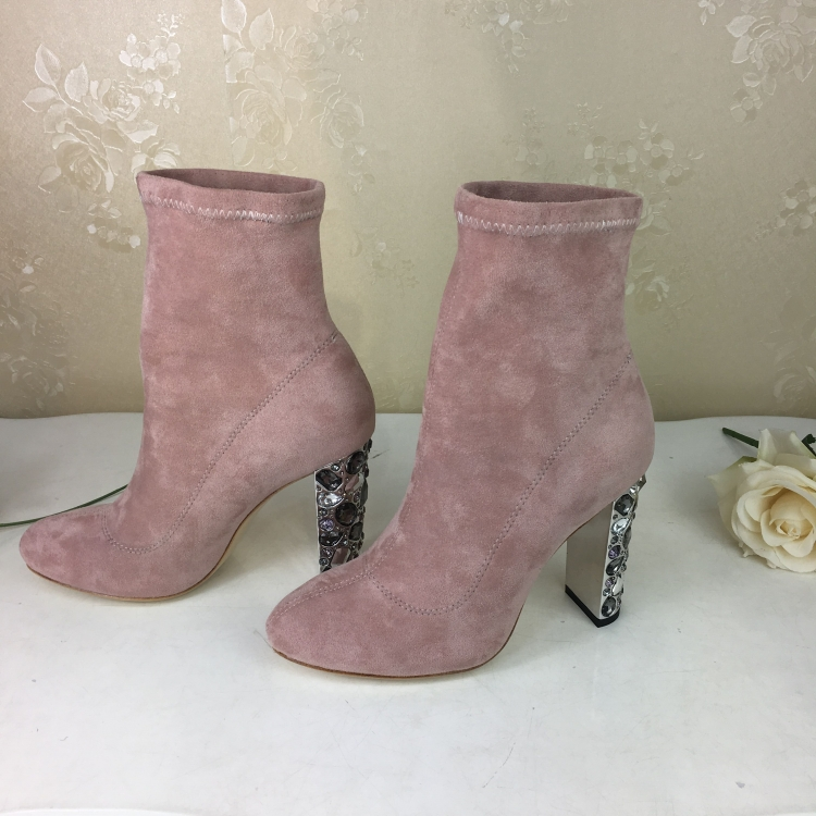 Hot Winter Boots Women High Heels Botas Mujer Ankile Boots For Women Crystal Shoes Women Suede Sock Women Boots Zapatos De Mujer