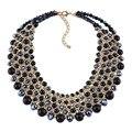 Moda 2016 cadenas de color oro accesorios de la joyería de piedra natural turquesa collar de cristal y pendantd choker collar para las mujeres