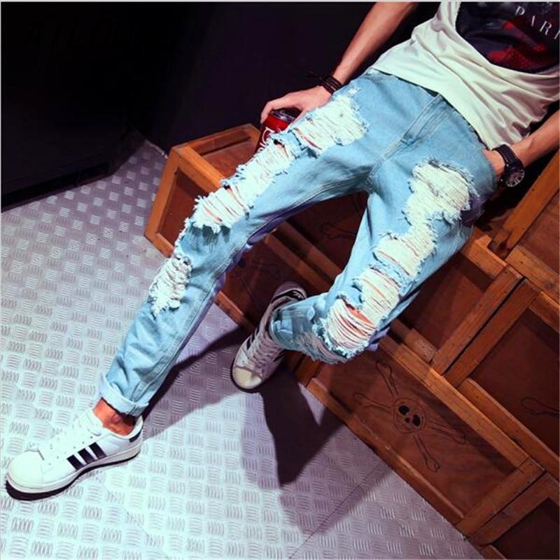 AILOOGE New Mens Jeans Brand Destroyed Hole Jeans Straight Mens Robin Jeans Slim Frayed Denim True Harem Jeans For Men