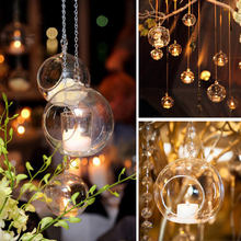 1PC Hanging Tealight Glass Candle Light Holder Globes Terrarium Wedding Candlestick Vase Home Hotel Bar Decor 6CM/8CM/10CM/12CM(China)