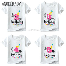 Girls Happy Birthday Number 1-7 Print T shirt Baby Summer White T-shirt Kids Birthday Present Number Print Clothes,ooo2432 все цены
