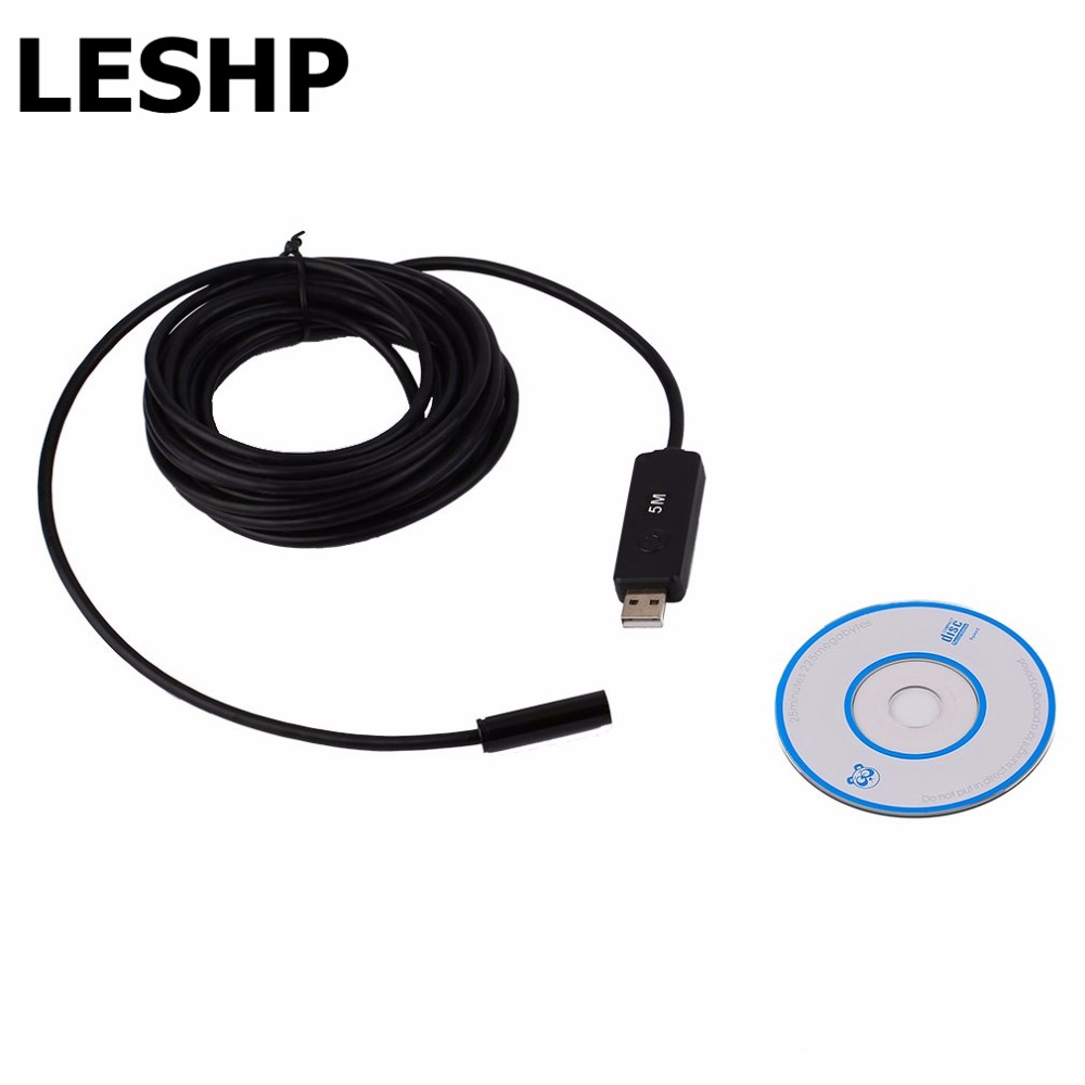 LESHP 1Set Mini USB Waterproof 5M/10mm Endoscope Borescope Snake Inspection Camera with 4 white LED light Newest mini 10mm waterproof usb endoscope 4 led white light camera black golden