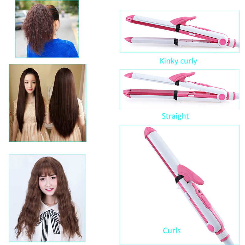 KeMei 3 In 1 Hair Curling Iron EU Plug Hair Straightener Multifunction corrugated Iron Corn Plate Heated Roller KM-1213