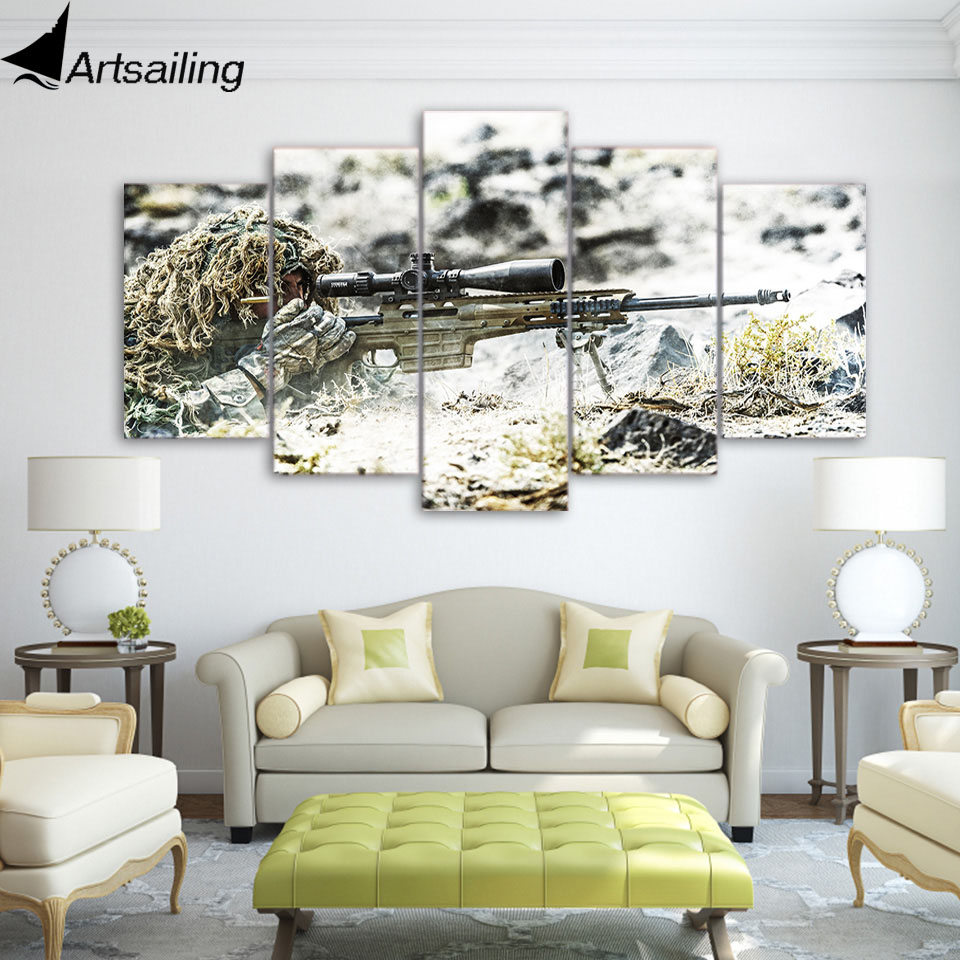 5 Piece Canvas Art HD Print Home Decor Warfare Shooting gun Paintings For Living Room Wall Poster Picture Free Shipping UP-2262B