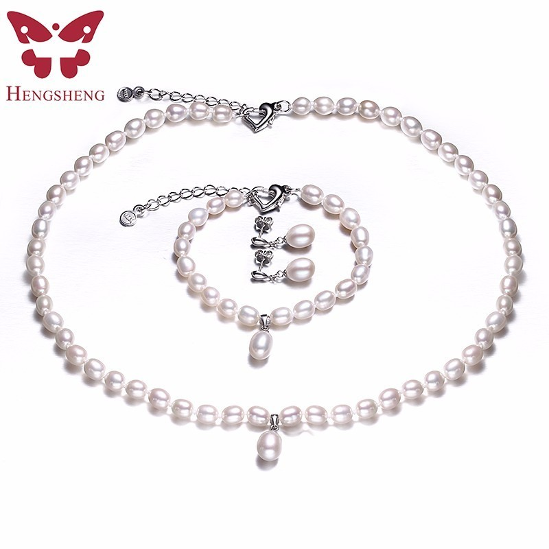 HENGSHENG AAAA Natural Freshwater Pearl Jewelry Set Fashion/Elegant Necklace Bracelet Earrings For Women for party/wedding/gift elegant rhinestoned bowknot three layered faux pearl necklace and bracelet for women